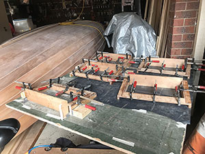Clamping and gluing the hatch frames for our B&B Yacht Designs Lapwing 16.
